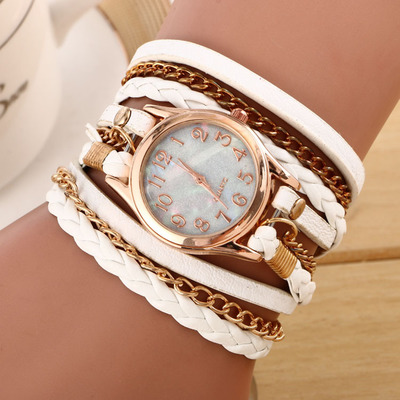 New Fashion Winding Bracelet Watch Women Casual Dress Watches relojes mujer Vintage Leather Ladies Quartz Wrist watch Clock Gift hot unique women watches crystal leather bracelet quartz wrist watch mujer relojes horloge femmes relogio drop shipping f25