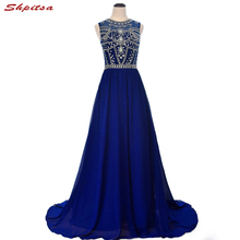 Luxury Crystal Long Evening Dresses Party 2018 Women Royal Blue Elegant Beaded Prom Plus Size Formal Evening Gowns Dresses