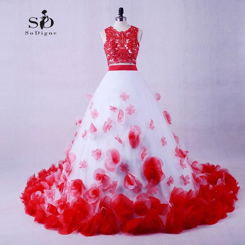 SoDigne robe de mariée princesse grande taille rouge dentelle robes de mariée deux pièces fleurs à lacets longue rouge robe bouffante