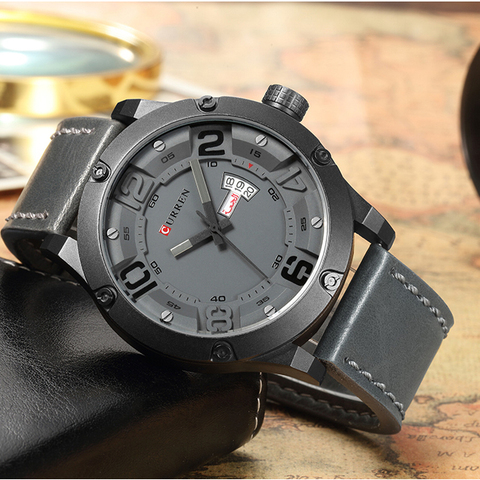 CURREN Fashion Creative Design Leather Strap Quartz Men Watches Display Date and Week Waterproof Wrist Watch Relogio Masculino Multan