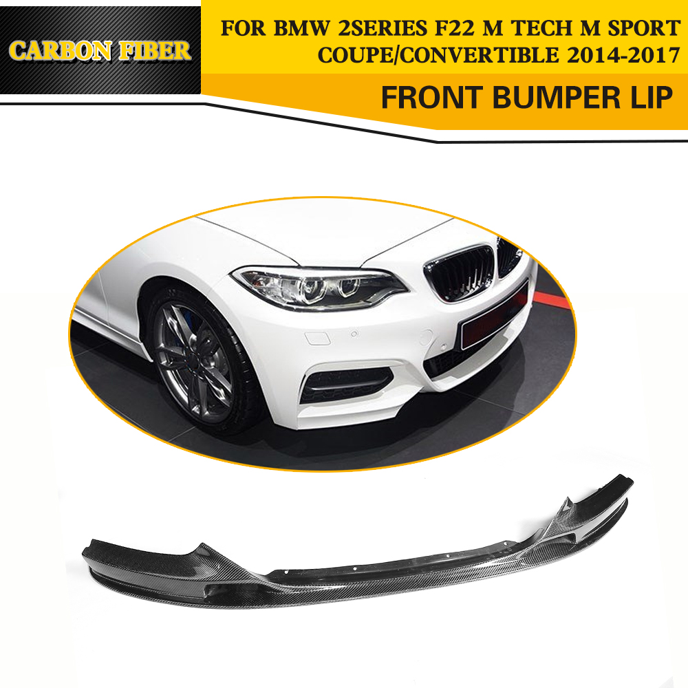 2 Series Carbon Fiber Auto Front Bumper Lip Chin for BMW F22 220i 228i 230i M Sport Coupe Convertible 2014-2017 2 series carbon fiber car front bumper lip spoiler for bmw f22 m sport coupe only 14 17 convertible 220i 230i 235i 228i p style