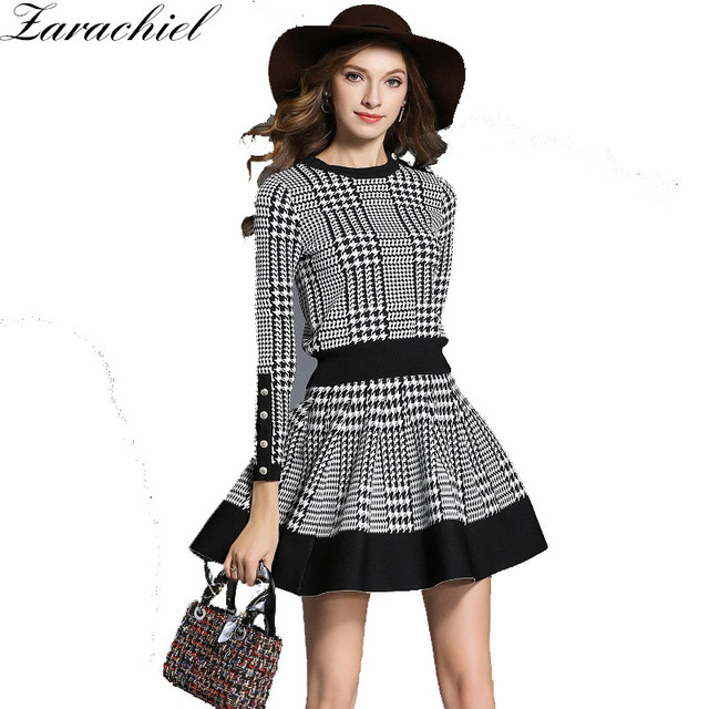 3513ea3b9f New 2019 Spring Plaid Sweater Skirt Suit Women 2 Piece Set Long Sleeve O  Neck Button Knitted Skirt Set Crop And A Line Skirt