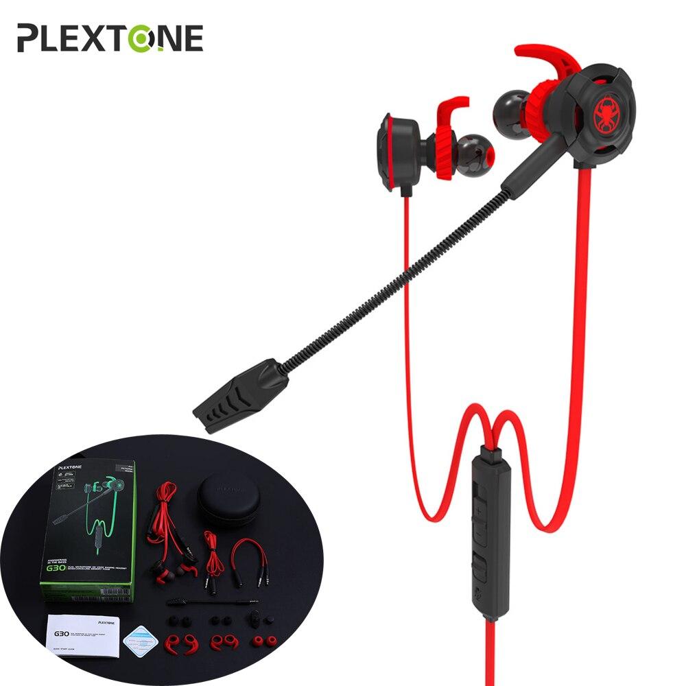 PLEXTONE G30 In-Ear PC Gaming Écouteurs avec Mic Splitter 7.1 Stéréo Basse Earbuffs pour Ordinateur Téléphone Tablet Notenook X-BOX PS4