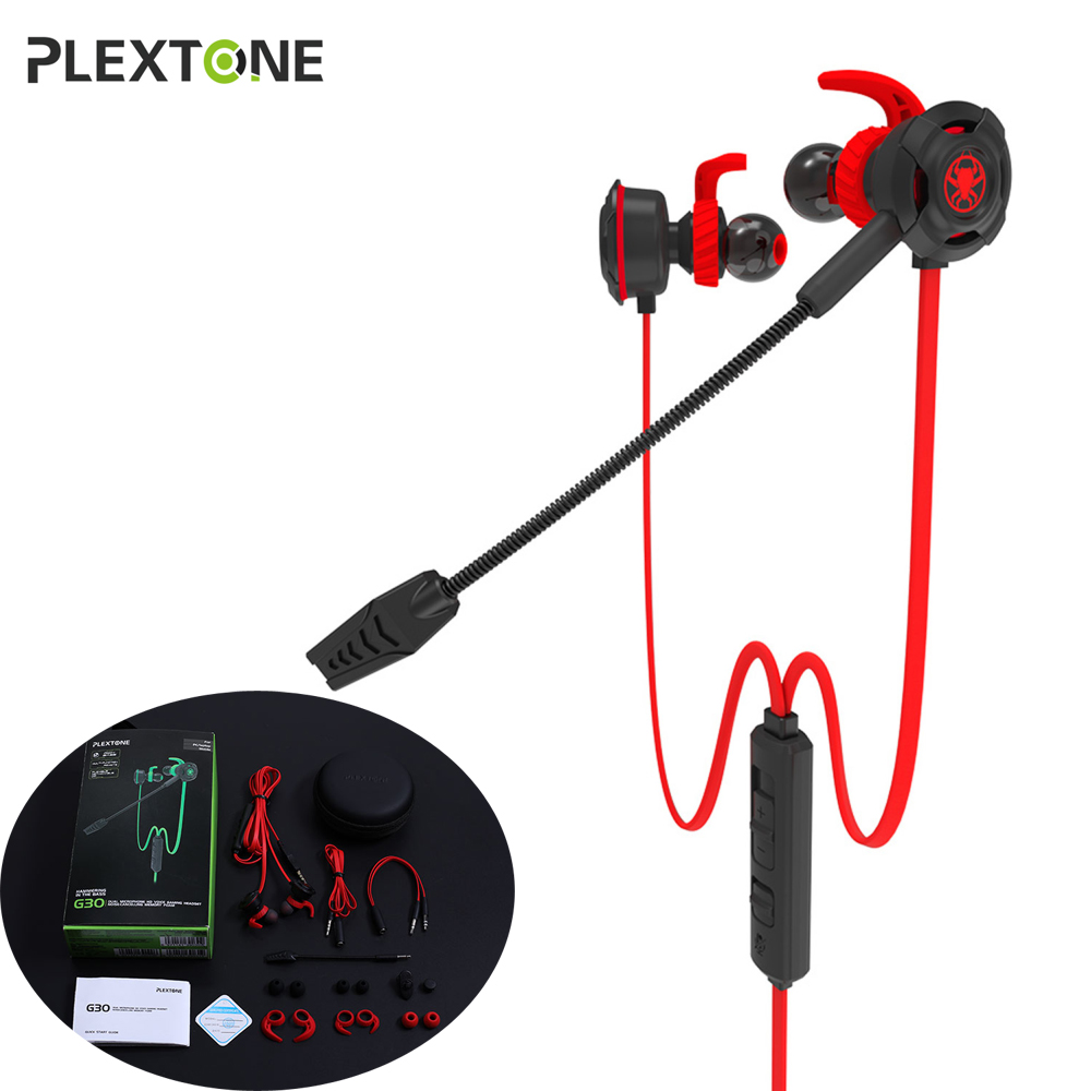 PLEXTONE G30 In-ear PC Gaming Earphones with Mic Splitter 7.1 Stereo Bass Earbuffs for Computer Phone Tablet Notenook X-BOX PS4 teamyo n2 computer stereo gaming headphones earphones for mobile phone ps4 xbox pc gamer headphone with mic headset earbuds