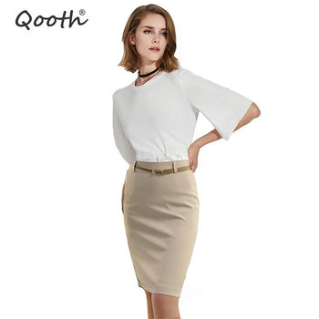 New Summer Autumn Fashion Office Solid Color Women's  A line Knee Length Plus Size 3XL Skirt Belt Send Randomly DF245 - discount item  36% OFF Skirts