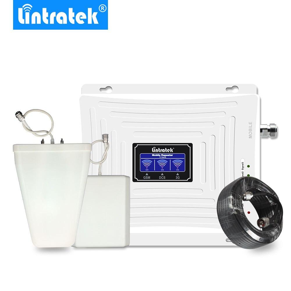 Lintratek LCD amplificateur gsm 2g 3g 4g Tri bande Signal ampli GSM 900 1800 3G UMTS 2100 4G LTE 1800 amplificateur de Signal repeteur 4g.