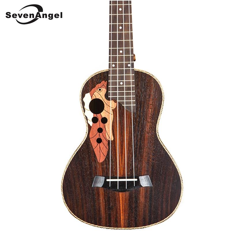 SevenAngel marque 26 pouces ténor ukulélé raisin trou sonore guitare hawaïenne 4 cordes palissandre électrique Ukelele avec ramassage EQ