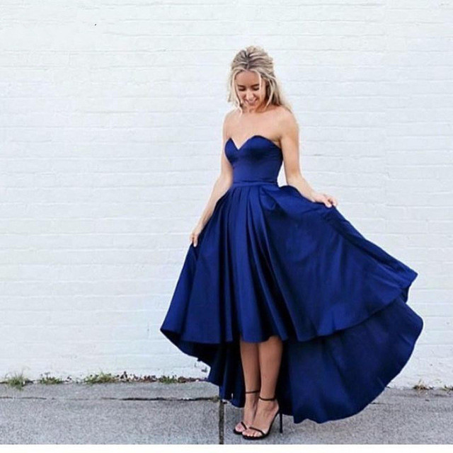 High Low Prom Dress Sweetheart Sleeveless Simple Evening Gowns Sexy Hi Lo Homecoming Party Dress Custom Cheap