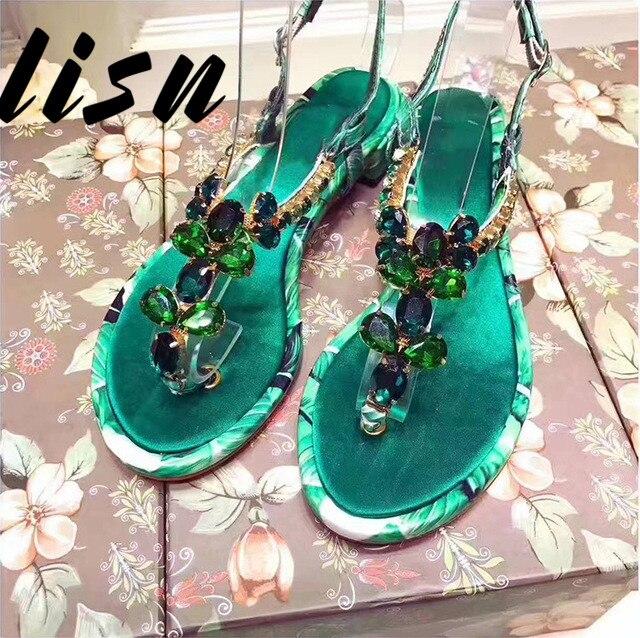 Cristal Hebilla Pic Verano Las Mujeres As Genuino as Bajo Sandalias Pic Abierta Correa Cuero Estado Punta De Tacón Joya Floral Calidad Zapatos Hw0S0Xx7q