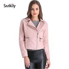 3c92a8d788d04 Sarikily Leather Jacket Women Plus Size 4XL Short PU Faux Basic Jackets  Female Moto Turn-down Collar Motor Casaco Feminino Coat