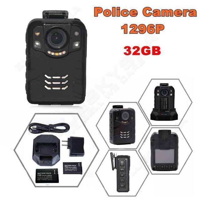 Free shipping!32G Ambarella A7L50 Super HD 1296P 2K Police Worn Camera 170 Hours 60fps IR