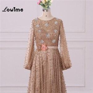 Image 3 - Vestido de noche Formal musulmán elegante mangas largas con abalorios Vestido de fiesta de boda con cinturón de flores Vestido Longo 2018 hecho a medida