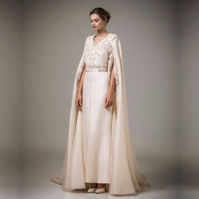 2019 Muslim Evening Dress Long Arabic Kaftan Turkish Evening Gowns Women  Formal Dresses with Pearls Coat Robe de Soiree Cheap 033fcb2cb49a