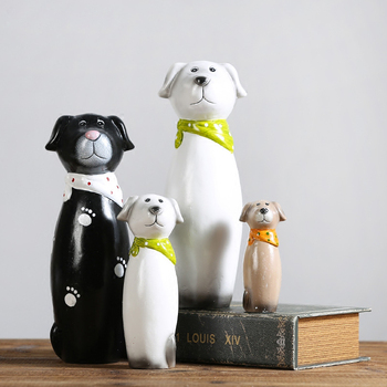 4PCS/SET Simple modern Ceramic Dog sitting room bedroom Home decoration Birthday Gift