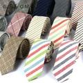 Новая Мода Мужские Галстуки 100% Хлопок Галстук для Мужчин Причинно Полосой Галстук Для Человека Бизнес Жених Партия Тонкий Галстуки Corbatas