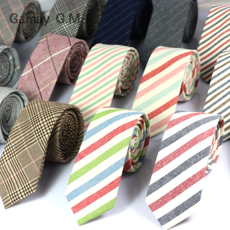 New Fashion Mens Ties 100% Cotton Necktie For Men Causal Stripe Tie For Man Bussines Corbatas Bridegroom Party Slim Neckties
