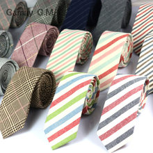 New Fashion Mens Ties 100% Cotton Necktie for Men Causal Stripe Tie For Man Bussines Corbatas Bridegroom Party Slim Neckties(China)