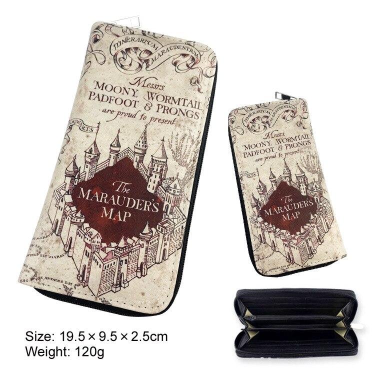 Hogwarts Cosplay Long Zipper Wallet Hogwarts Admission Letter Marauders Map Hogwarts Express 9 3/4 Platform Pattern Purse Wizard