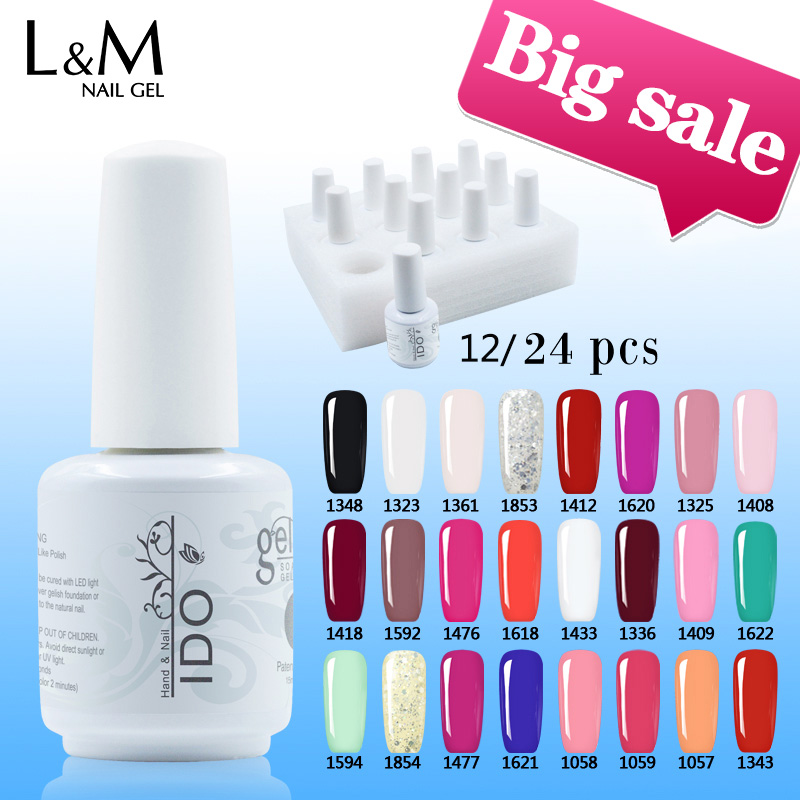12 or 24 Pcs IDO Gelpolish 15ml Free Shipping Soak Off Led Uv Nail Gel Polish Set (10colors +Base +Top) Art Gel Nails Brands свитшот кремового цвета с принтом ido ут 00016484