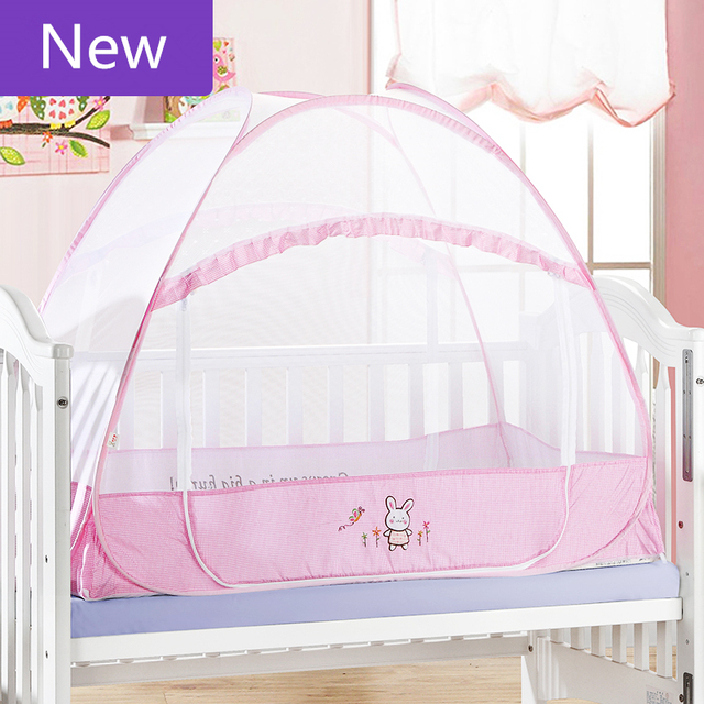Cartoon Pink Baby Bed Mosquito Net,Portable Baby Mosquito Insect Cradle Bed Netting,Folding Infant Kids Cot Crib Mosquito Nets