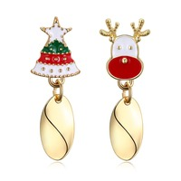 สุขสันต์วันคริสต์มาส3สีหัวกวางต้นคริสต์มาสออกแบบS Tud E Arrings LKN18KRGPE1600สาวของขวัญคริสต์มาสพิเศษต่าง...