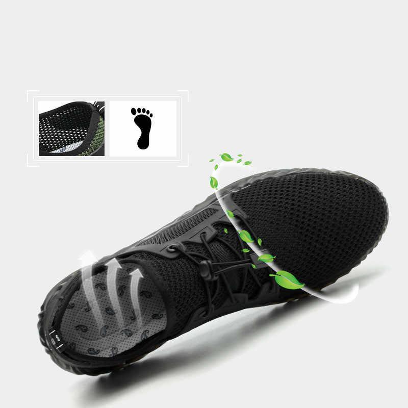 ใหม่ Breathable น้ำหนักเบาบินทอรองเท้าประกันแรงงานก่อสร้าง Anti-Smashing Anti-piercing ความปลอดภัยรองเท้า