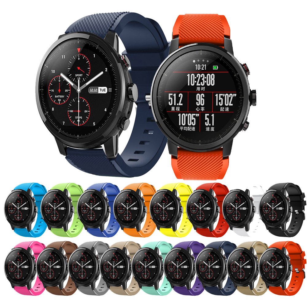 For Xiaomi Huami Amazfit GTR 47mm Smart Watch Straps Silicone Bands Bracelet For Huawei GT2 46mm Galaxy Watch 46mm Replacement