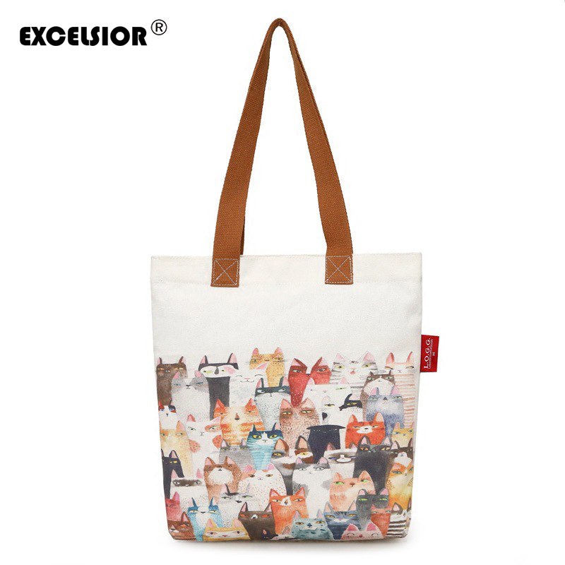 EXCELSIOR Cute Cat Printed Canvas Tote Female Single Shopping Bags Large Capacity Women Canvas Beach Bags Casual Tote Feminina excelsior waterproof canvas casual zipper shopping bag large tote women handbags floral printed ladies single shoulder beach bag