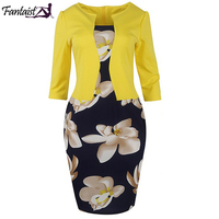 Fantaist Women Fall One Piece Patchwork Floral Print Elegant Business Party Formal Office Plus Size Bodycon