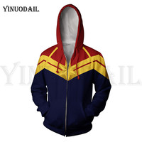 Men and Women Zip Up Hoodies The Avengers Endgame Hooded Jacket Superheroes Captain Marvel Sweatshirt Streetwear Cosplay Costume