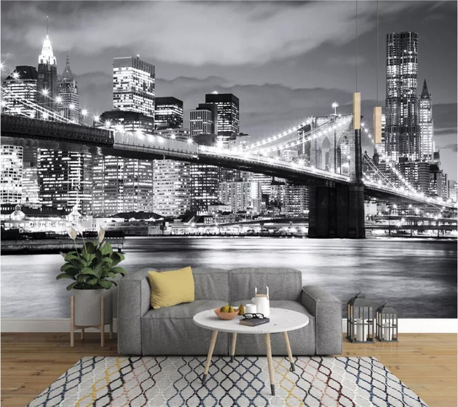 beibehang Custom wallpaper 3d mural Bridge Europe and America city scenery black and white landscape mural background wall paper image