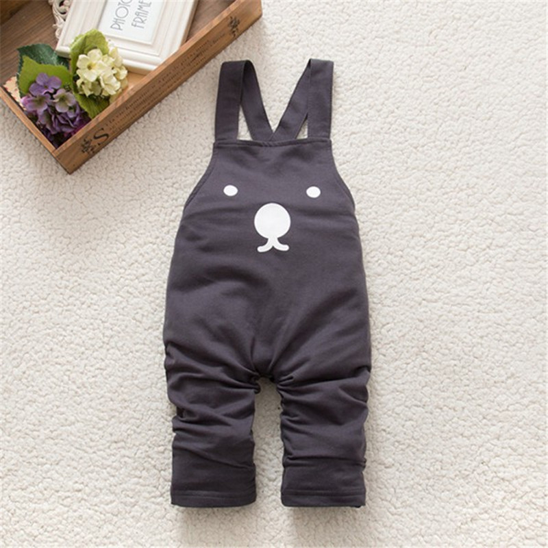 New Cute Baby Boy Girls Bib Pants Overalls Bear Print Harem Pants Long Trousers