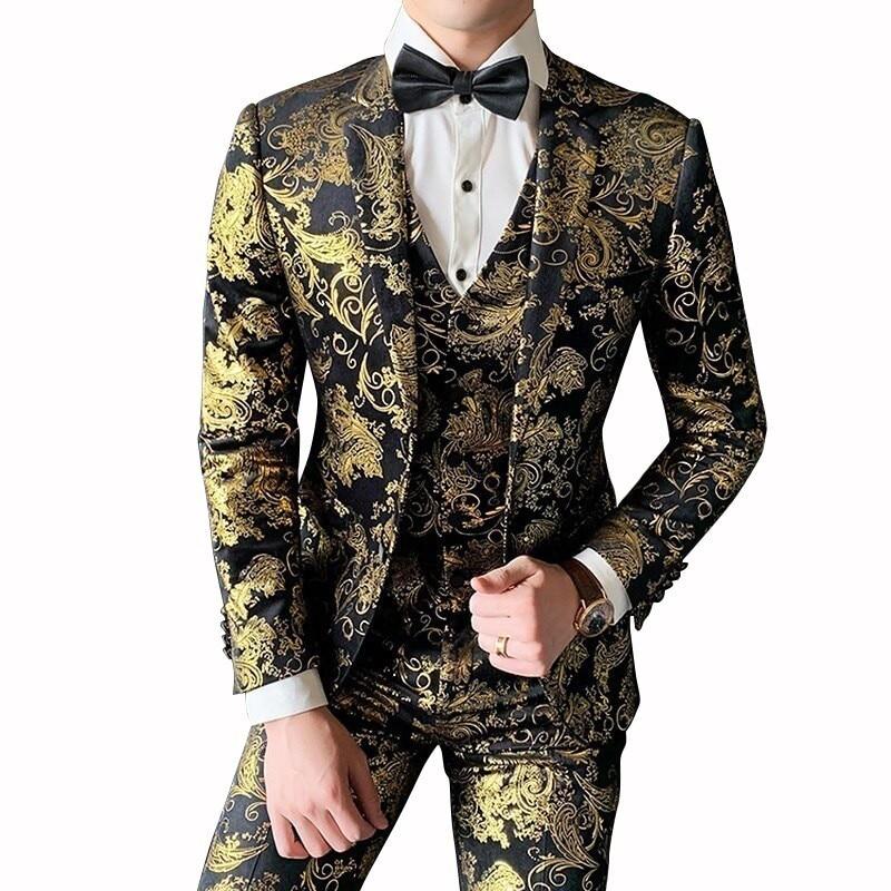 Gold Suit For Men Luxury Baroque Velvet Suit Men Slim Fit Costume Mariage Homme 2019 Floral Print Prom Suit Men