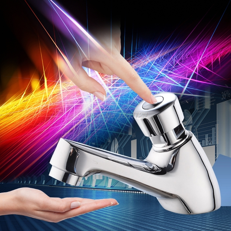 Brass Time Delay Faucet Touch Press Auto Self Closing Cold Water Saving Tap For Public Toilet Metered Faucet AUG_21 Dropship
