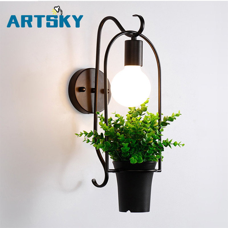 Modern Iron Creative Potted Plants Green Wall Lamp Bedside Living Room Backdrop Restaurant Bar Aisle Wall Decoration Lamps