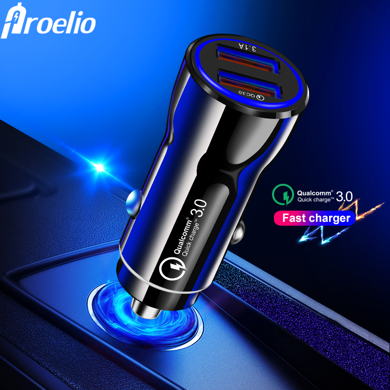 3.1A Fast Car Charger Quick Charge 3.0 Dual USB For iphone XR XS Max Xiaomi Huawei Mobile Phone Charger Car Cigarette Lighter