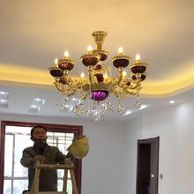 Kunst decor Lila kristall kronleuchter led lüster de cristal luminaria Shopcase hochzeit licht Vintage hotel esszimmer lampe