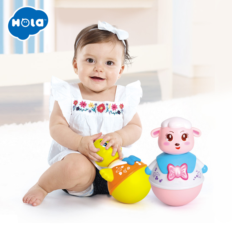 HOLA 967 Baby Toys Roly-Poly Tumbler Toy With Music & Flashing Lights Nodding Doll Duck Sheep Novelty Educational Toys
