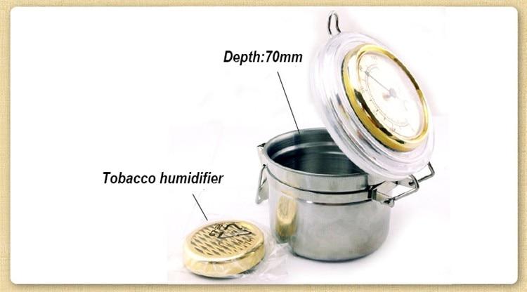 Nuevo 1 Unidades acero inoxidable Tabaco Cigarro Humidor Caso Caja de Lata con Higrómetro y Humidificador airfroof olla Accesorios de Fumar