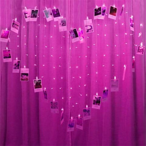 coracao cortina de led luz fada string