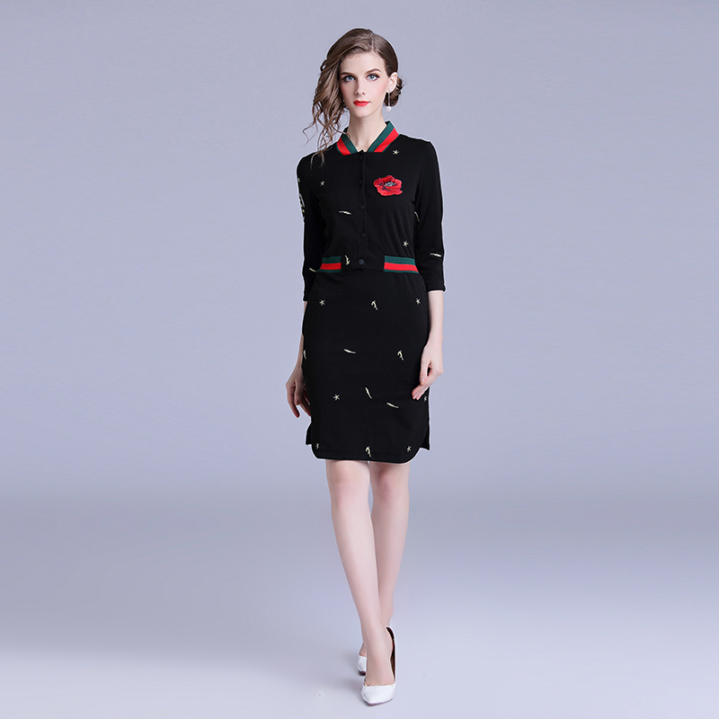 2019 Women s New Embroidered Contrast Fashion Temperament Casual Dress Stand Collar Luxury Women Dress Party