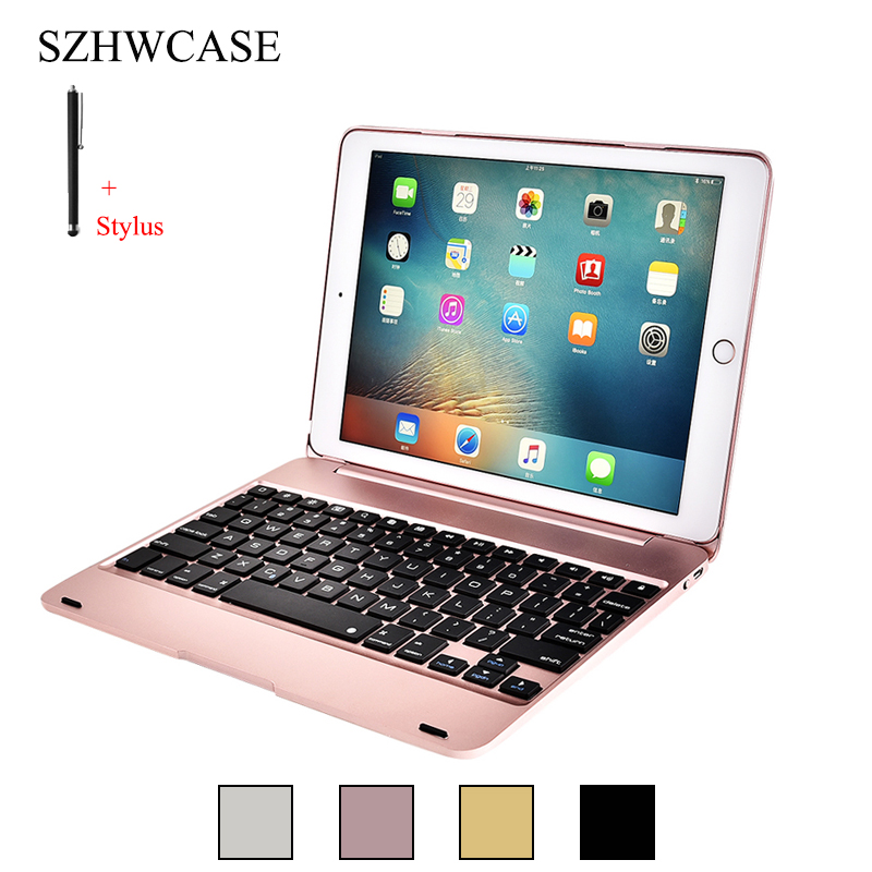 купить For iPad Air 2 A1566 A1567 Wireless Bluetooth Keyboard Case For iPad Air 2 Tablet PC Flip Stand Cover For iPad Pro 9.7 +Stylus недорого