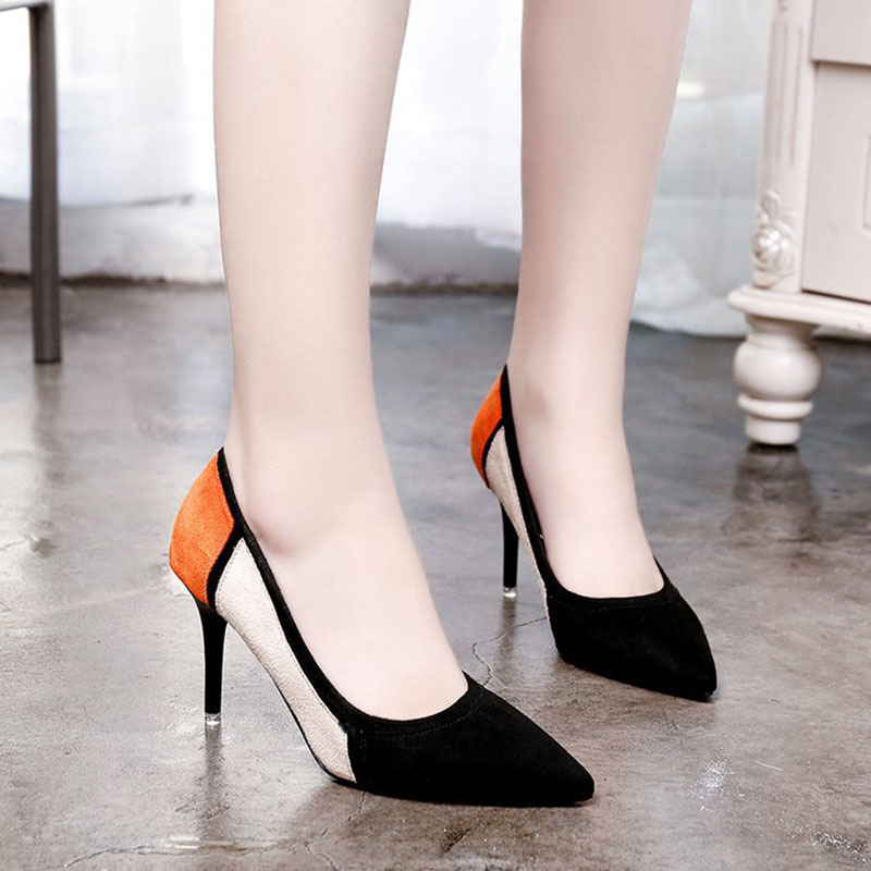 2018 New Style High-Heeled Sshoes Pointed Toe Shallow Fashion Sexy Summer Pointed Toe Flock Thin Heels Slip-On Shoes Woman new stylish designer lady high heels shoes pointed toe concise slip on office career shoes woman string metal bead shoe edge