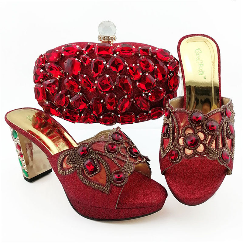 Newest FashionItalian Shoe and Bag Set African shoes and matching purse for women party Nigerian Women Shoes and Bag Matching