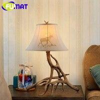 FUMAT Antlers Resin Table Lamp Modern LED Antler light Lustre Living Room table light desk light Vintage led light lamp