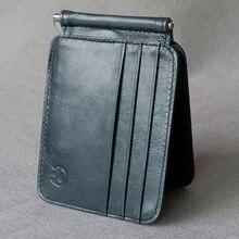 df55298fc8afb Deri cüzdan retro üst katman deri ABD altın klip çok fonksiyonlu klip kart  pozisyon değişikliği ince
