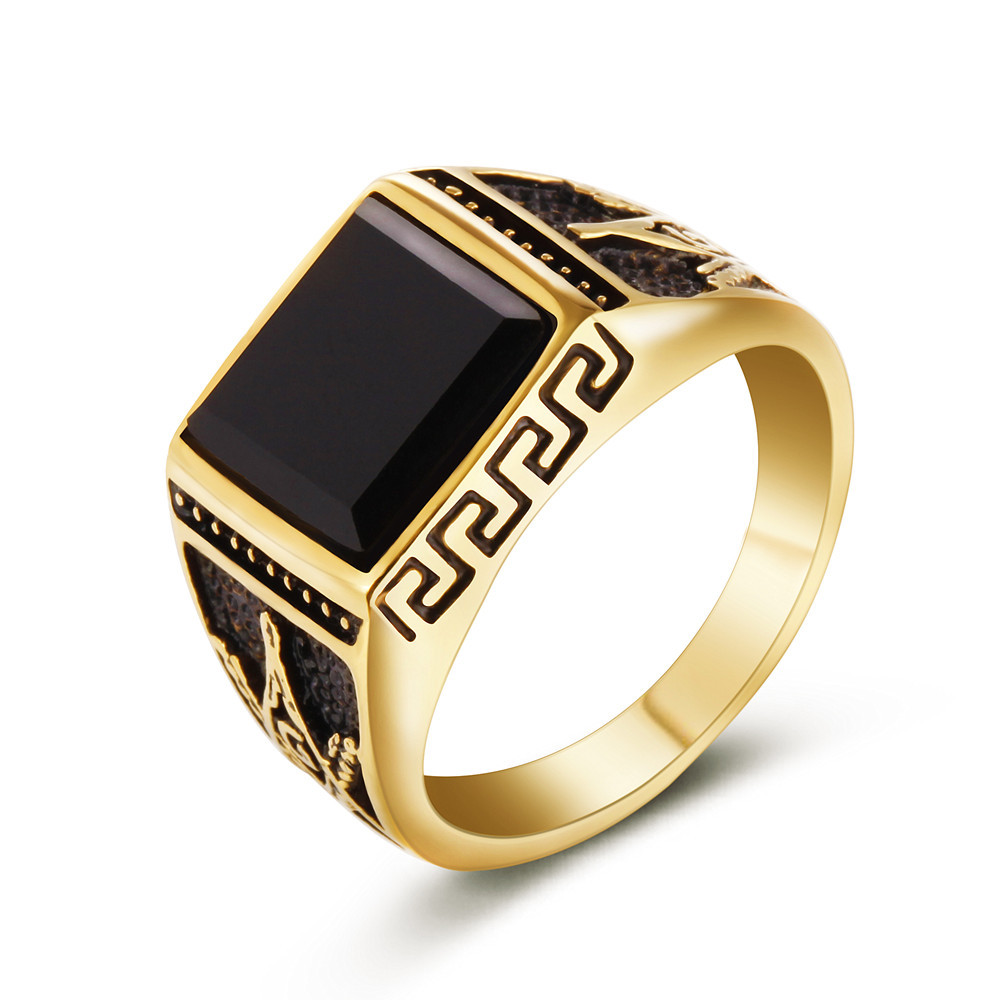 Retro Wind Great Wall Corrugated Ring Masonic Golden Element Men \'s ...