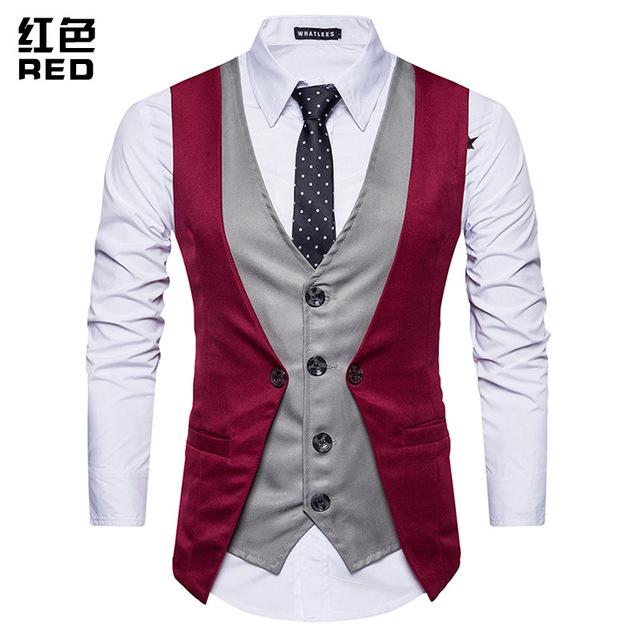 FFXZSJ Brand Fashion Fake Two Piece Vest Men Single Breasted Men Dress Suit Vests Male Formal Slim Business Wedding Waistcoat