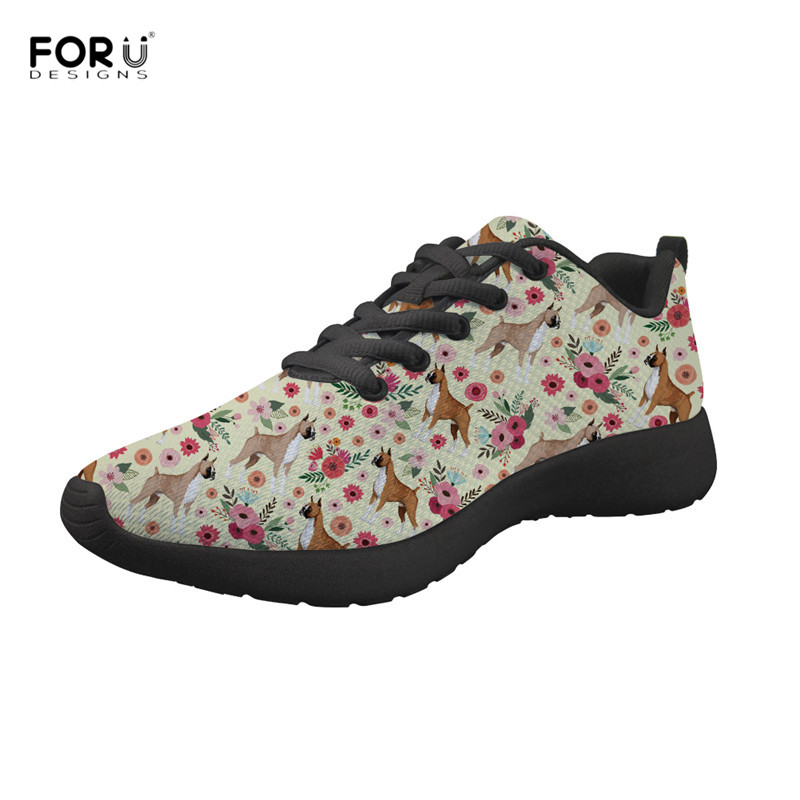 FORUDESIGNS Boxer Floral Pattern Women Flats Casual Female Breathable Mesh Sneakers Classic Lace Up Footwear for Ladies Girls