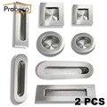 Probrico 2 pcs recesso maçaneta da porta do armário de cozinha de aço inoxidável redondo/quadrado/oval botão gaveta móveis flush dedo puxar